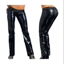 PANTALONES WETLOOK COLOR NEGRO 2164 TALLA S-L