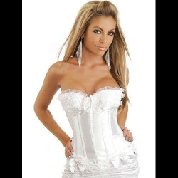CORPIÑO BURLESQUE COLOR BLANCO TALLA S-XL